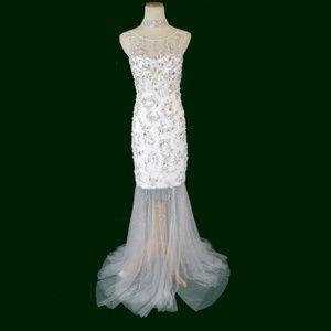 NWT Jovani Genuine White Beaded Bridal Wedding